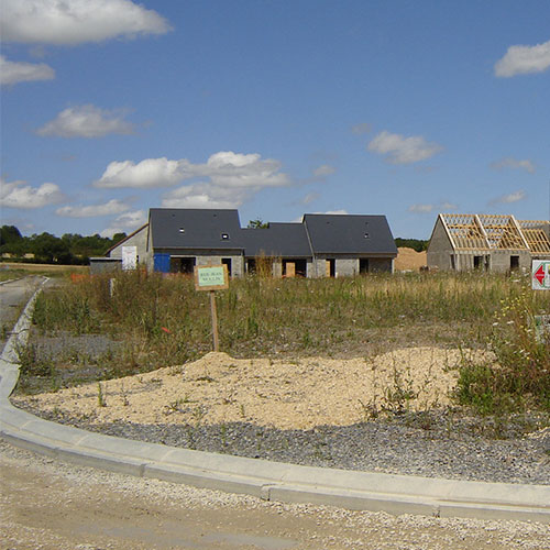 chantier d'un lotissement en construction